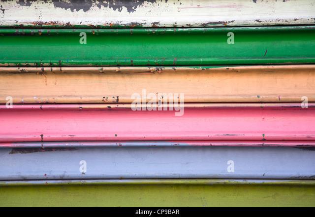 Painted Metal Garage Door, Close-Up - Stock Image