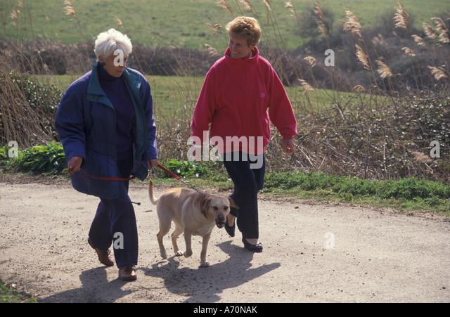 elderly women walking a dog - Stock Image