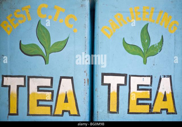 Tea for sale, Mahatma Gandhi Marg (MG Marg), Gangtok's main shopping street, Gangtok, Sikkim, India, Asia - Stock Image