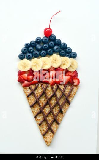Food art of ice cream cone - Stock-Bilder