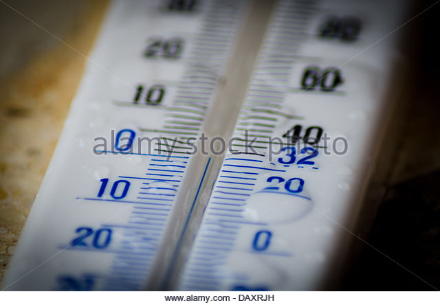 A close view of a thermometer. - Stock Image