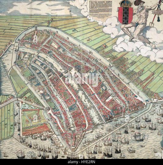 Cornelis anthonisz vogelvluchtkaart amsterdam - Stock Image