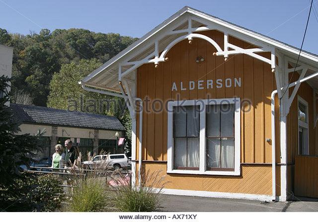 West Virginia Alderson Train Depot Museum couple - Stock Image