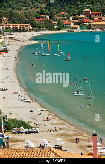 Vasiliki beach, a wind and kite surfers' 'paradise' in Lefkada (or 'Lefkas') island, Ionian - Stock Image