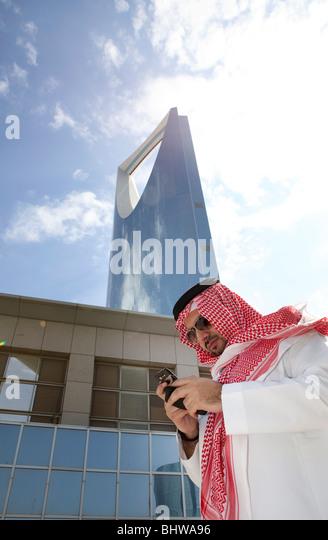 Man traditional Kingdom tower Riyadh Saudi Arabia - Stock Image
