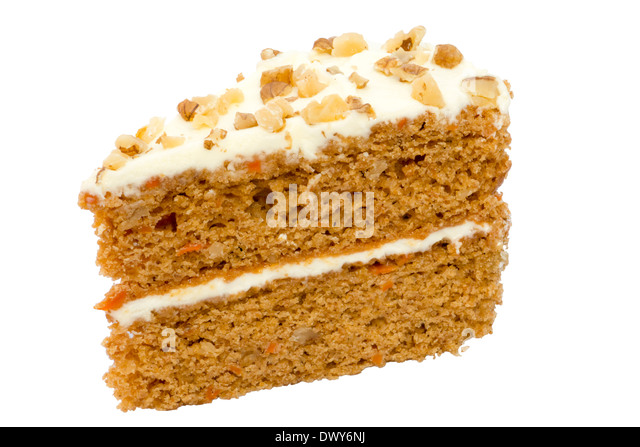 Carrot cake isolated against a white background. - Stock Image