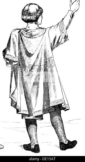 fashion Middle Ages France aristocrat after illuminated manuscript mid 13th century wood engraving 19th century - Stock Image