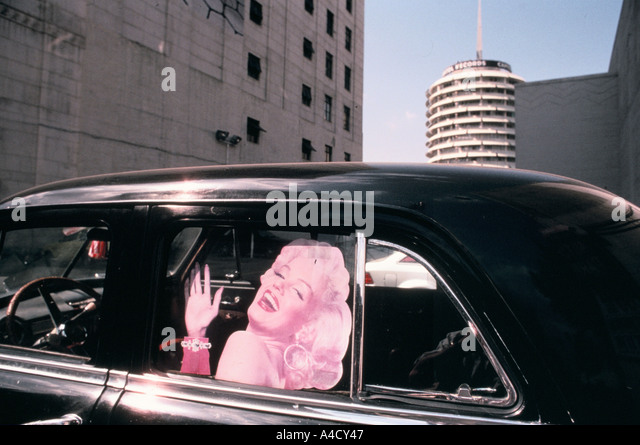 A Marilyn Monroe cut-out in a car on a Los   Angeles street, USA - Stock Image