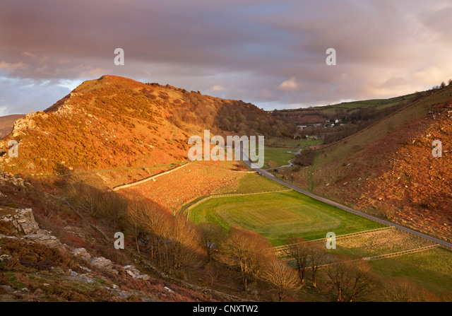 The Valley of Rocks and cricket ground, Lynton, Exmoor, Devon, England. Winter (March) 2012. - Stock Image