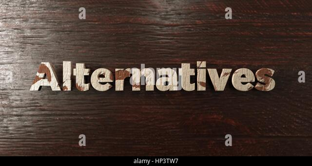 Alternatives - grungy wooden headline on Maple  - 3D rendered royalty free stock image. This image can be used for - Stock Image