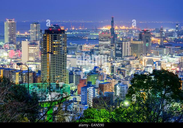 Kobe, Japan city skyline at twilight. - Stock Image