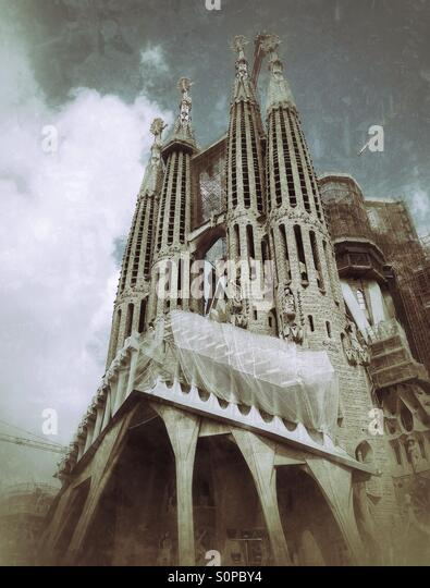 View of Sagrada Familia in Barcelona, Spain - Stock Image