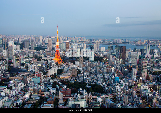Japan, Asia, Tokyo, city, Tokyo Skyline, Tokyo Tower, architecture, big, buildings, city, downtown, huge, lights, - Stock Image