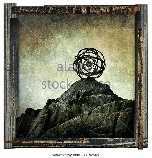 abstract rock sphere - Stock Image