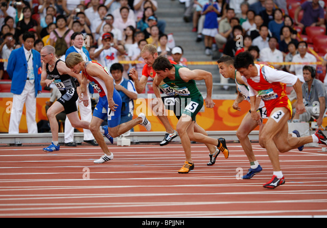 Start of the men's T37 final in athletics/track at the Paralympic Games in Beijing. - Stock Image