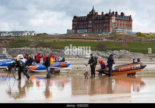 Zapcat; Power Boats; Newquay; Cornwall; UK - Stock Image