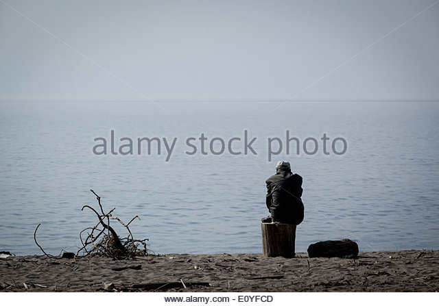 All alone and looking depressed. - Stock Image