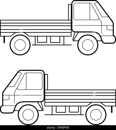 Car , vector black lines over white background - Stock Image