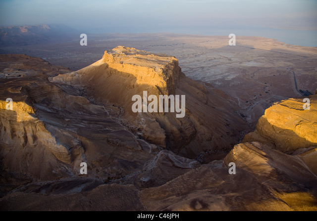 Aerial photograph of the ruins of one of the Roman camps south to Masada from the period of the Roman siege during - Stock Image