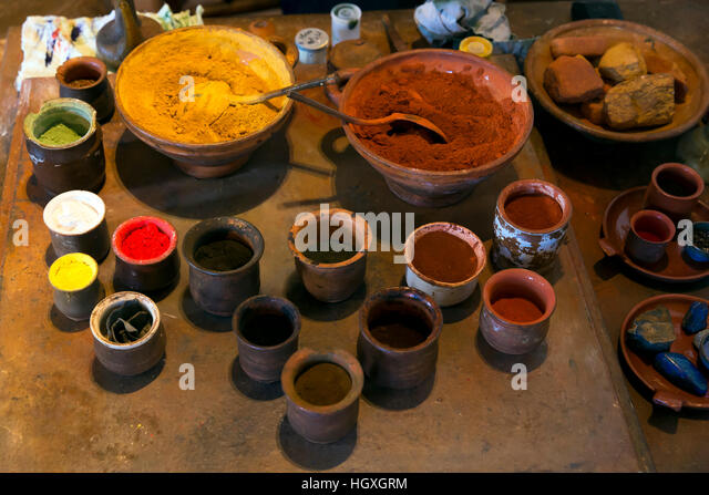 Oil paint preparation, Rembrandt House Museum,  Rembrandthuis,  Amsterdam, Netherlands. - Stock Image