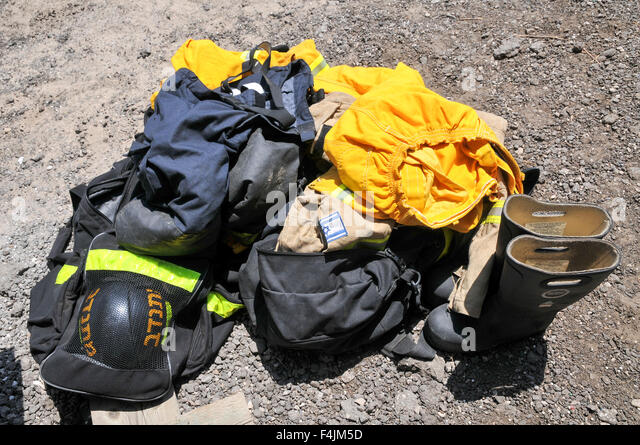 Firefighter's protective clothing - Stock Image