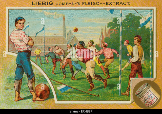 A football match.  Liebig card, Sports, 1896. - Stock Image