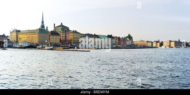 Skyline of Stockholm in the sunset. Sweden - Stock Image