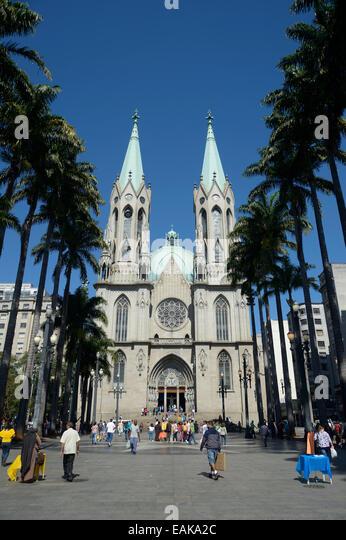 São Paulo See Metropolitan Cathedral, Catedral da Se, on Praca da Se square, Se, São Paulo, São Paulo, - Stock Image