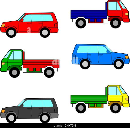 Set cars, trucks and cars. Vector illustration. - Stock Image