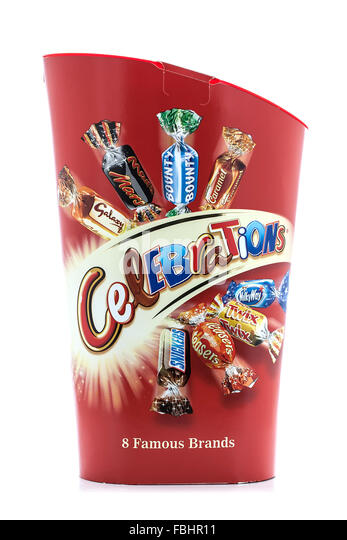 Box of Celebrations on a white background, Celebrations are a chocolate collection made by Mars, Incorporated - Stock Image