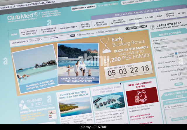 Club Med website - all inclusive family vacation resorts - Stock-Bilder