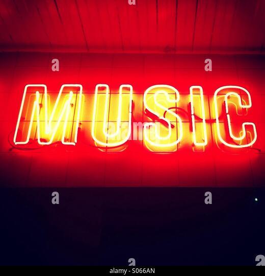 Music written in Neon lights - Stock-Bilder