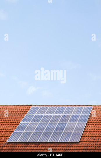 Solar panel on roof - Stock Image