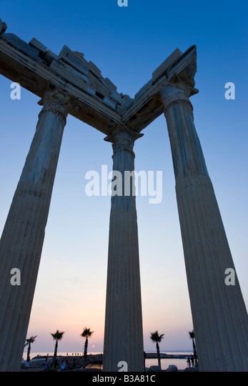 Roman Ruins of the Temple of Apollo, Side, Anatalya Province, Turkey - Stock Image