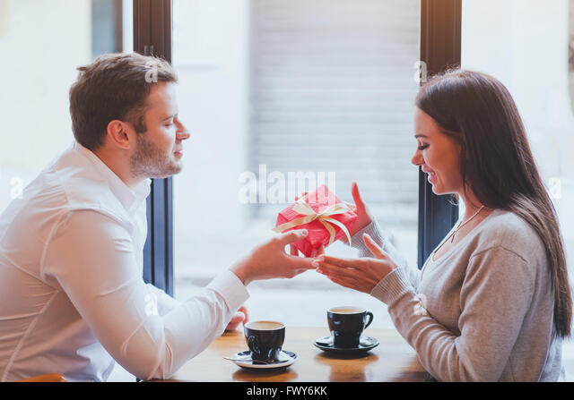 man and woman, gift, romantic dating - Stock-Bilder