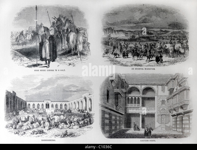 Bible Illustrations Of Arab Horses Coming To A Halt, An Oriental Migration, Caravanseral And An Eastern House - Stock-Bilder