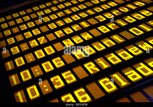 Close-up of arrival departure board - Stock Image