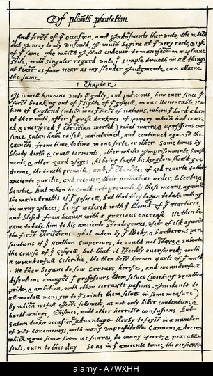 First manuscript page of Governor William Bradford History of the Plimoth Plantation early 1600s - Stock Image