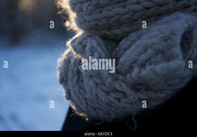 close up knitted scarf. winter, woolen, pattern, fabric. - Stock Image