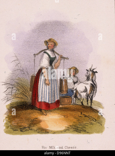 The goat keeper. From 'Graphic Illustrations of Animals and Their Utility to Man', London, c1850. - Stock Image