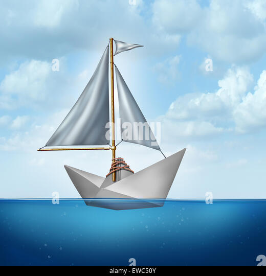 Upgrade your skills concept and improve abilities symbol as a boat sail tied to a paper boat as an upgrading and - Stock Image
