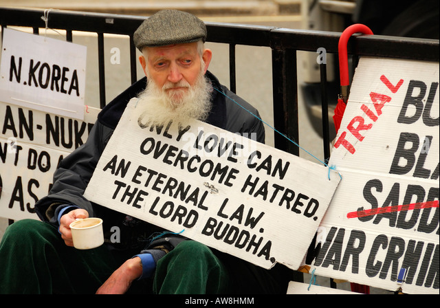Only love can overcome hatred - Stock Image