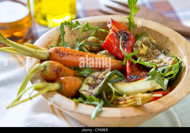 Grilled vegetables salad - Stock Image