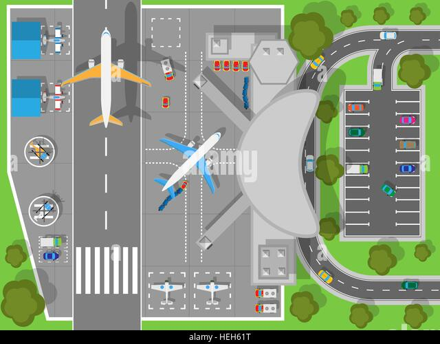 Airport a Top View. Terminal and Aircraft. Airport top view. Terminal aircraft. Infrastructure of a large airport - Stock-Bilder