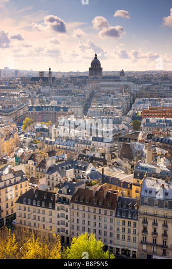 View over Paris to the Pantheon Dome Paris France - Stock Image