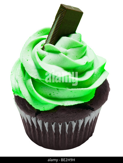 Mint chocolate cupcake with chocolate bar on top. - Stock Image