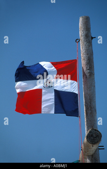 Dominican Republic national flag - Stock Image