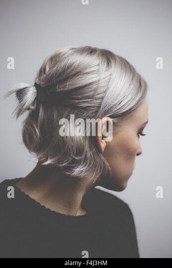 Contemporary hipster girl with silver gray hair - Stock-Bilder