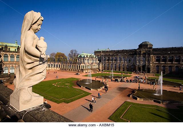 DEU Dresden Saxony Zwinger overview sculpture - Stock Image