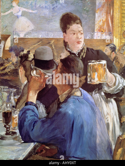 'fine arts, Manet, Edouard, (1832 - 1883), painting, 'La Servante de Bocks', ('corner of a cafe - Stock-Bilder